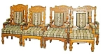 Set Of 8 Carved American Oak Armchairs