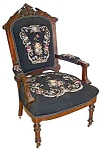 19th C. American Renaissance Walnut Armchair