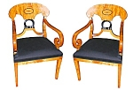 Pr Biedermeier Armchairs W/black Upholstry