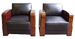 Pair Of Art Deco Chairs In Black Leather