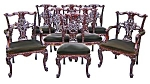 Set Of 8 French Carved Art Nouveau Chairs