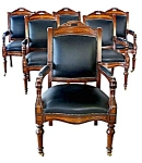 Set Of 6 State Capital Chairs Upholstered In Leather