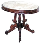 14.2732 Oval Marble Top Victorian Table