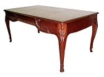 French Mahogany Table W/tooled Leather Top
