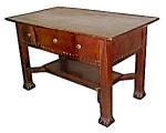Oak Mission Desk With 3 Drawers C. 1910