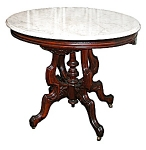 American Walnut Renaissance Marble Top Table