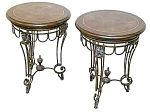Pair Of Iron End Tables With Leather Top