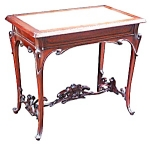 Art Nouveau Table W/inset Marble Top.