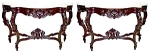 Pr American Rosewood Rococo Marble Top Tables