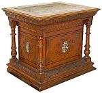 Quartersawn Oak Carved & Incised Pedestal