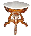 Unusual Marble Top Victorian Burled Center Ta