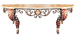 Large French Wrought Iron Console Table