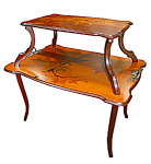 2 Tier Inlaid Art Nouveau Side Table By Galle
