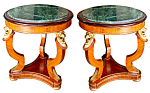 Pair Of Empire Style Marble Top Tables