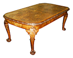 Fabulous Burled Walnut English Chippendale Dining Table