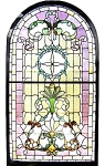 Large Victorian Landing Window With Arched Top C. 1890
