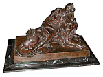 Antique19th C. Bronze Of Lady Reclining On Lion