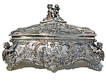Antique Wmf Silver Jewelry Box With Cupid Motif
