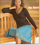 Sequin V-neck Rib Top & Corduroy Skirt