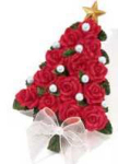 Red Roses Christmas Tree Pin - Mint