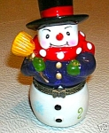 Avon Porcelain Snowman Trinket Box-new