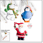 Personalized Holiday Friends Ornament Set