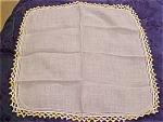 2 Handkerchiefs W/yellow Crocheted Edges