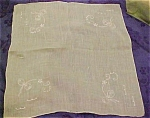 Light Green Handkerchief W/bow Embroidery