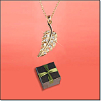 Leaf Pendant Necklace In Bronze Gift Box