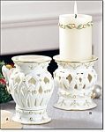 Porcelain Pillar Candle And Holder - New