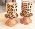 Set Of Two Leopard Print Candles With Holders