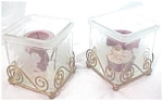 Frosted Glass And Brass Candle Holders