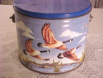 Birds In Flight Signed Toleware Canister