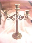 Early 1900's Vintage Brass 3-arm Candelabrum