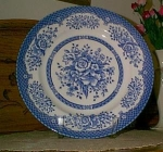 Wood And Sons Blue Cabbage Rose Plate