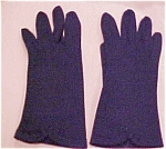 Navy Cloth Gloves With Bow Accents