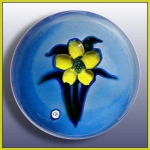 """j"" Glass: Lampwork Flower Paperweight"