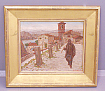 A. Petronie Oil On Board Man Walking From Town