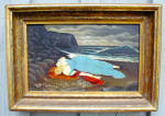 American Folk Art Primitive Twilight Seascape Painting With Maiden