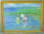 Oil Painting On Board Of Child Playing On The Shoreline In The Mabel Woodward Style