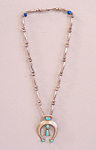 Vintage Native American Silver Turquoise Old Pawn Squash Blossom Necklace
