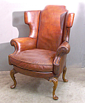 Contemporary Hand Made English Leather Wing Chair