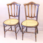 Pair English Victorian Black Lacquered Side Chairs C1880