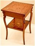 Antique American Folk Art Inlaid Table