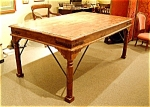 Antique Teak Wood Table From India With Wrought Iron C1850