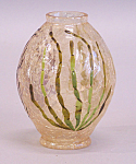 Decorative Blown Art Glass Crackle Vase With Enamel