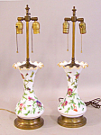 Pair Of English Floral Enameled Opaline Glass Lamps