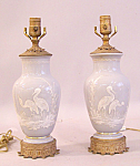 Pair Of Antique Gray Opaline Glass Lamps With Cranes