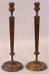 Pair Of Tall Solid Walnut Candle Sticks