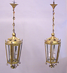 Pair Antique 19th Century English Brass Handing Light Fixtures